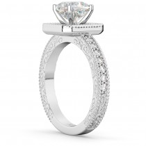 Milgrain Square Halo Diamond Engagement Ring 14kt White Gold (0.32ct.)