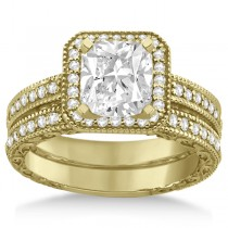Square Halo Wedding Band & Engagement Ring 14kt Yellow Gold (0.52ct.)