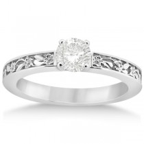 Flower Carved Solitaire Engagement Ring Setting 14kt White Gold