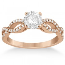 Diamond Twist Infinity Engagement Ring Setting 14K Rose Gold (0.40ct)