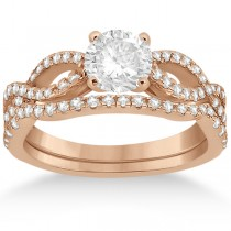 Infinity Twist Diamond Ring with Band Setting 18k Rose Gold (0.60ct)