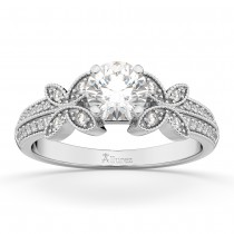 Butterfly Milgrain Diamond Engagement Ring 14K White Gold (0.25ct)