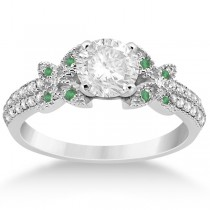 Diamond and Green Emerald Butterfly Engagement Ring 18K White Gold