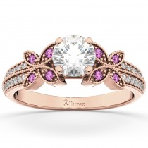 Diamond & Pink Sapphire Butterfly Engagement Ring 14K Rose Gold