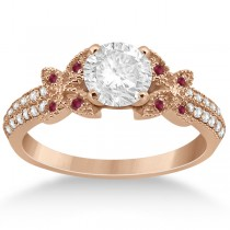 Diamond and Ruby Butterfly Engagement Ring Setting 14K Rose Gold