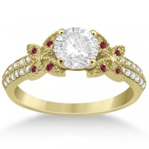 Diamond & Ruby Butterfly Engagement Ring Setting 14K Yellow Gold