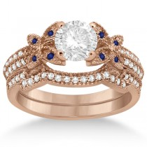 Butterfly Diamond and Blue Sapphire Bridal Set 18k Rose Gold (0.39ct)
