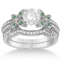 Butterfly Diamond & Emerald Bridal Set 14K White Gold (0.39ct)