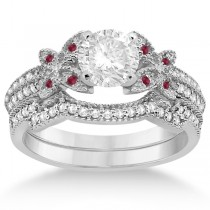 Butterfly Diamond & Ruby Bridal Set Platinum (0.39ct)