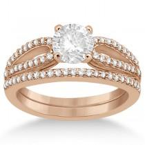 Cathedral Split Shank Diamond Ring & Band Set 14K Rose Gold (0.35ct)