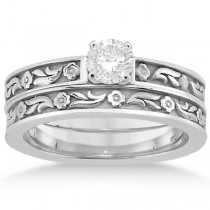 Carved Eternity Flower Design Solitaire Bridal Set in 14k White Gold