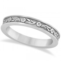 Hand-Carved Eternity Flower Design Wedding Band in 14k White Gold