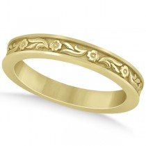 Hand-Carved Eternity Flower Design Wedding Band in 14k Yellow Gold