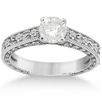 Carved Flower Solitaire Engagement Ring Setting in Platinum