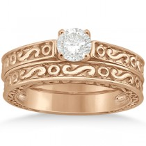 Hand-Carved Infinity Filigree Solitaire Bridal Set in 18k Rose Gold