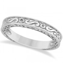 Hand-Carved Infinity Design Filigree Wedding Band in Platinum