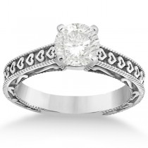Solitaire Engagement Ring Setting with Carved Hearts 14K White Gold