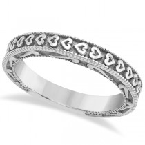 Carved Heart Wedding Ring Ladies Bridal Band Crafted in 14K White Gold