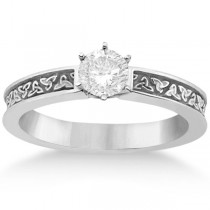 Carved Celtic Solitaire Engagement Ring in 14K White Gold