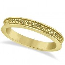 Unique Carved Irish Celtic Wedding Band in 14K Yellow Gold