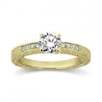 0.20ct Vintage Style Diamond Engagement Ring Setting 18k Yellow Gold