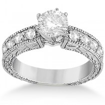0.70ct Antique Style Diamond Engagement Ring Setting 18k White Gold