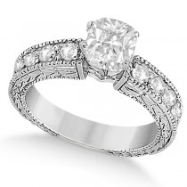 Cushion-Cut Diamond Vintage Engagement Ring 14k White Gold (1.00ct)