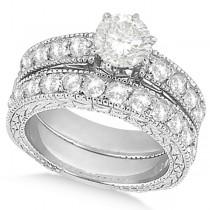 Antique Round Diamond Engagement Bridal Set 18k White Gold (4.41ct)
