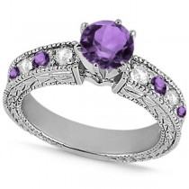 Diamond & Amethyst Vintage Engagement Ring in 18k White Gold (1.75ct)