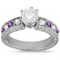 Antique Diamond & Amethyst Engagement Ring Palladium (0.75ct)