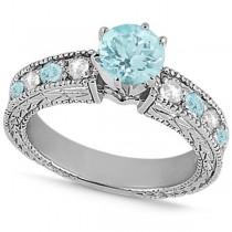 Diamond & Aquamarine Vintage Engagement Ring in 18k White Gold (1.75ct)