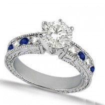 Blue Sapphire & Diamond Vintage Engagement Ring 14k White Gold 1.75ct