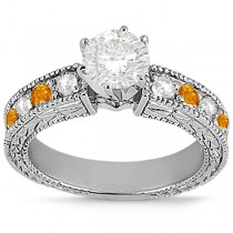 Antique Diamond & Citrine Engagement Ring Palladium (0.75ct)