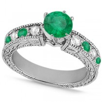 Diamond & Emerald Vintage Engagement Ring in 14k White Gold (1.75ct)