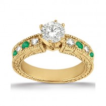 Antique Diamond & Emerald Engagement Ring 18k Yellow Gold (0.72ct)