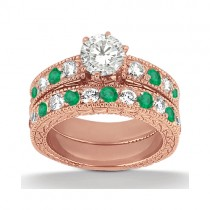 Antique Diamond & Emerald Bridal Set 18k Rose Gold (1.75ct)