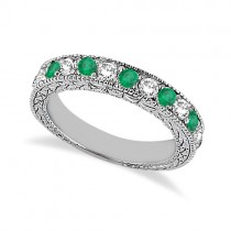 Antique Diamond and Emerald Wedding Ring 14kt White Gold (1.03ct)