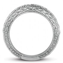 Antique Style Pave Set Wedding Ring Band 14k White Gold (1.00ct)