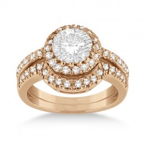 Halo Engagement Ring & Matching Wedding Band 14k Rose Gold (0.55ct)