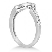 Pave Curved Diamond Wedding Band 14k White Gold (0.20ct)