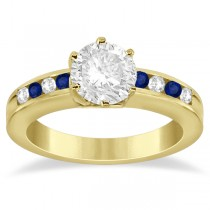Channel Diamond & Blue Sapphire Engagement Ring 14K Y Gold (0.40ct)