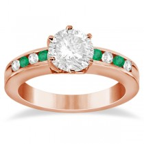Channel Diamond & Emerald Engagement Ring 18K Rose Gold (0.40ct)