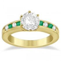 Channel Diamond & Emerald Engagement Ring 18K Yellow Gold (0.40ct)