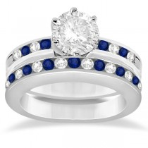 Semi-Eternity Blue Sapphire Gem Bridal Set Platinum (0.96ct)