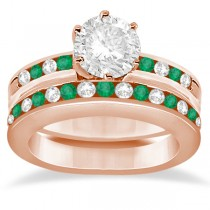 Semi-Eternity Emerald Gemstone Bridal Set 18K Rose Gold (0.96ct)