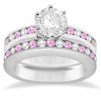 Semi-Eternity Pink Sapphire Gem Bridal Set 14K White Gold (0.96ct)