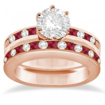 Semi-Eternity Ruby Gemstone & Diamond Bridal Set 14K Rose Gold 0.96ct