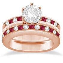 Semi-Eternity Ruby Gemstone & Diamond Bridal Set 18K Rose Gold 0.96ct