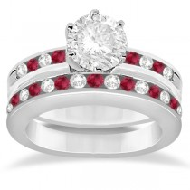 Semi-Eternity Ruby Gemstone & Diamond Bridal Set 18K White Gold 0.96ct