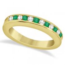 Semi-Eternity Emerald Wedding Band 14K Yellow Gold (0.56ct)